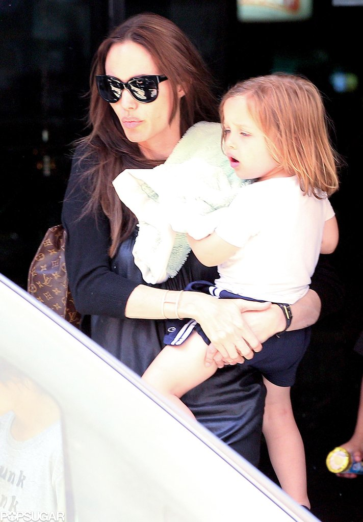 Knox Jolie-Pitt was in Angelina Jolie's arms for a visit to a bowling alley in Malta with big brother Maddox Jolie-Pitt in June 2011.