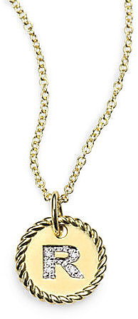 18K Gold Initial Pendant Necklace/R