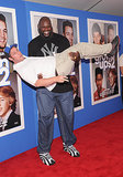 Shaquille O'Neal gave Adam Sandler a lift at the premiere of Grown Ups 2 in New York on July 11.