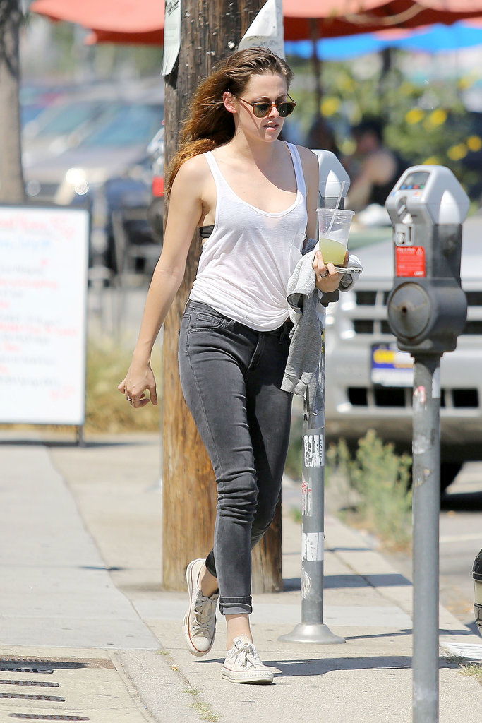 Kristen Stewart kept cool with an icy drink as she walked through Glendale in Los Angeles on Juy 10.