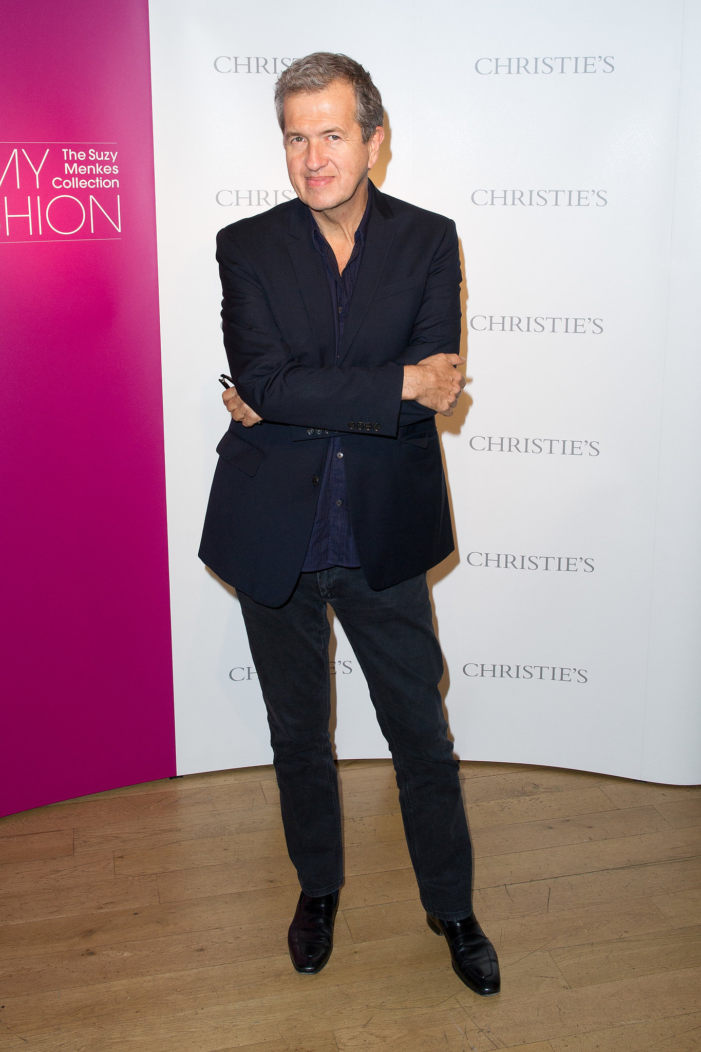 At the opening party for In My Fashion: The Suzy Menkes Collection, Mario Testino looked dapper in darks.