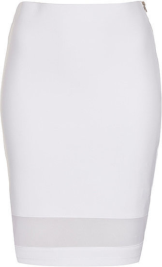 This Topshop white mesh panel tube skirt ($50) is quite literally white hot.
