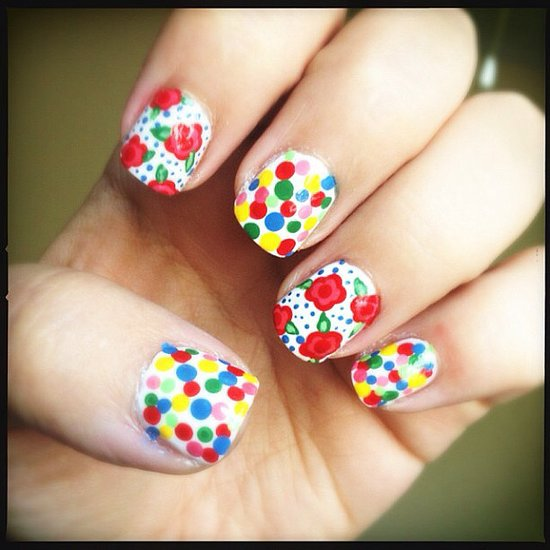 Polka dots and florals paired for a perfect Summer manicure. Source: Instagram user beautybynikki