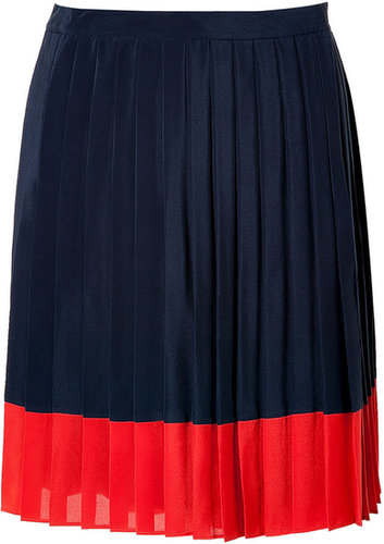 Steffen Schraut Navy Blue Pleated Biarritz Skirt