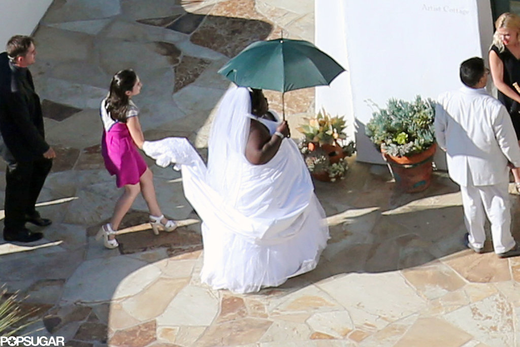 Gabourey Sidibe pranked Jimmy Kimmel on his wedding day by arriving in a white wedding dress.
