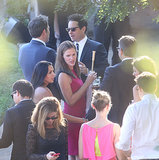 Jennifer Garner chatted with guests at Jimmy Kimmel's wedding.
