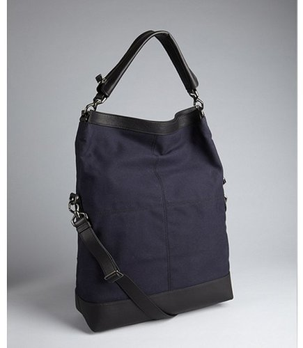 Givenchy navy canvas and leather 'Nightingale' foldover flap convertible tote