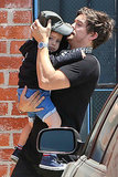 Orlando had his hands full with Flynn while dropping him off at kids' gym Romp in LA in April 2013.