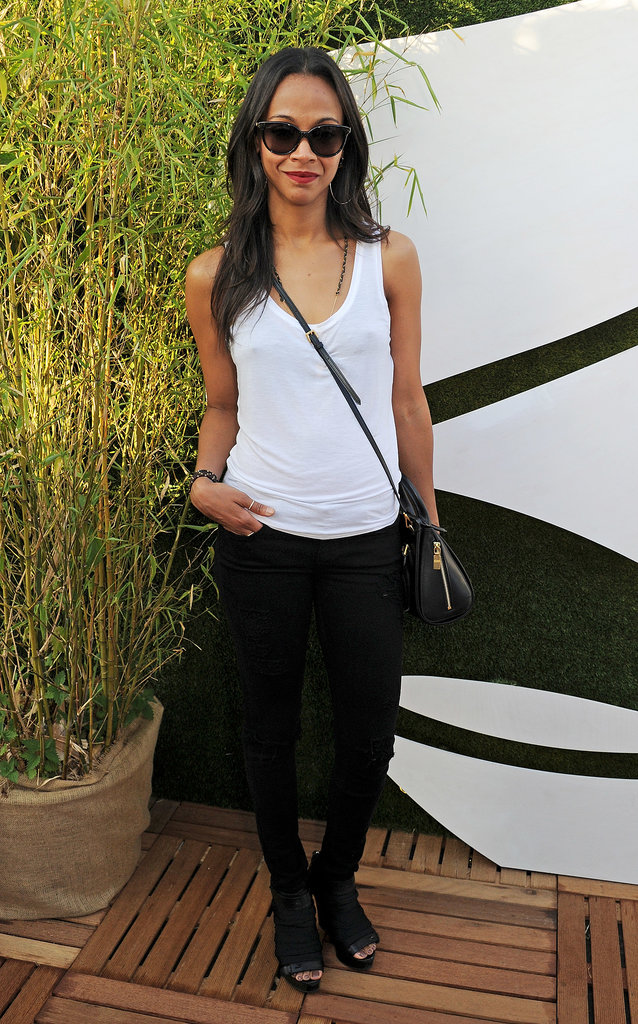 Zoe Saldana joined the Barclaycard Summer festivities in a minimalist black and white ensemble.