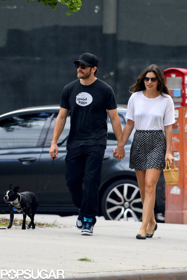 Jake Gyllenhaal and Alyssa Miller walked her dog Charlie.