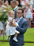 Princess Estelle struck a serious pose with her dad.