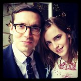Well-dressed partygoers Erdem Moralioglu and Emma Watson squeezed into frame.  Source: Instagram user gianlucalongogg