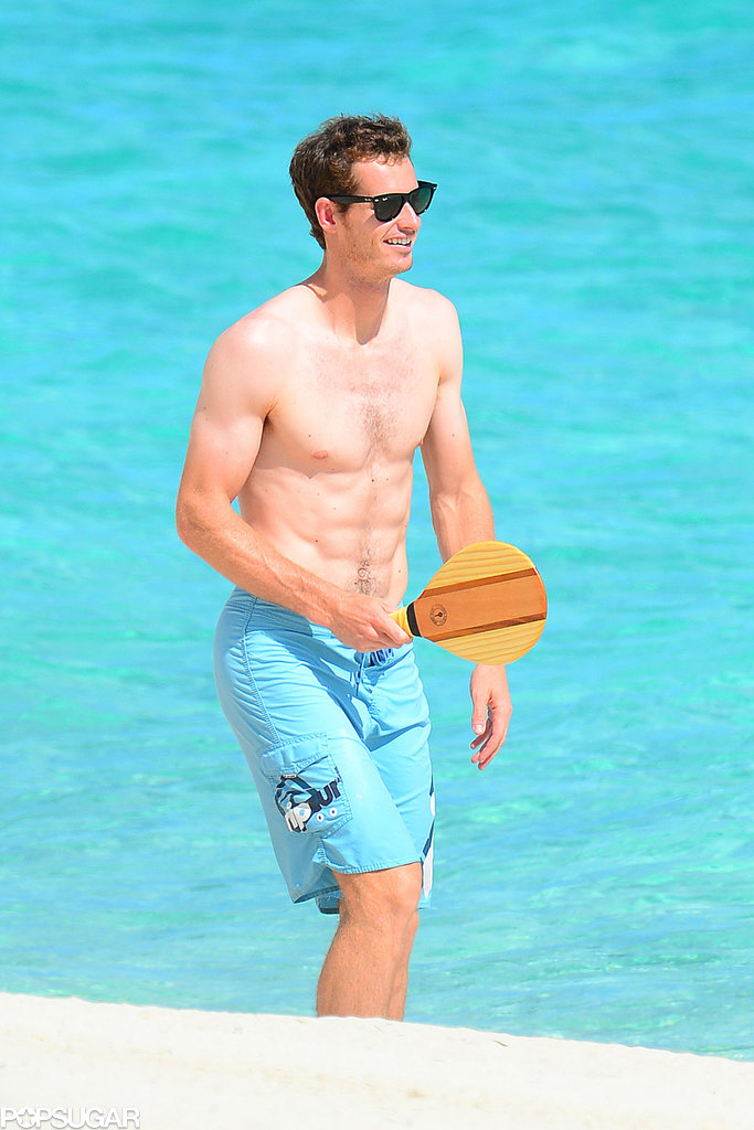 Andy Murray went shirtless on the beach.