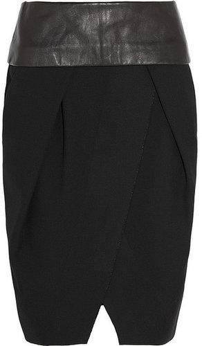 Alexander Wang Leather-trimmed piqué wrap-effect skirt