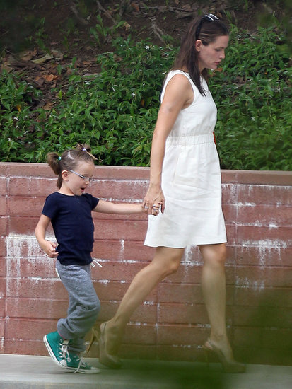 Jennifer Garner held her daughter Seraphina's hand while on the way to a party in LA on Sunday.