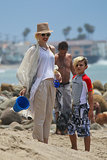 Gwen Stefani hit the beach with her son Kingston.