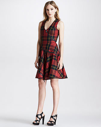 McQ Alexander McQueen Bias-Zip Fit-and-Flare Plaid Dress