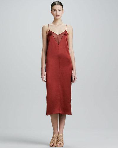 Adam Lippes Sheer-Inset Silk Satin Slip Dress, Copper