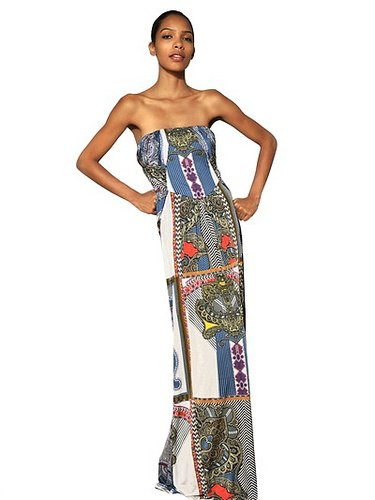 Printed Viscose Jersey Long Dress