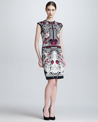 Roberto Cavalli Artemisia Cap-Sleeve Baroque Jacquard Dress