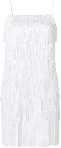 Haute Hippie White Swan Tiered Fringe Dress