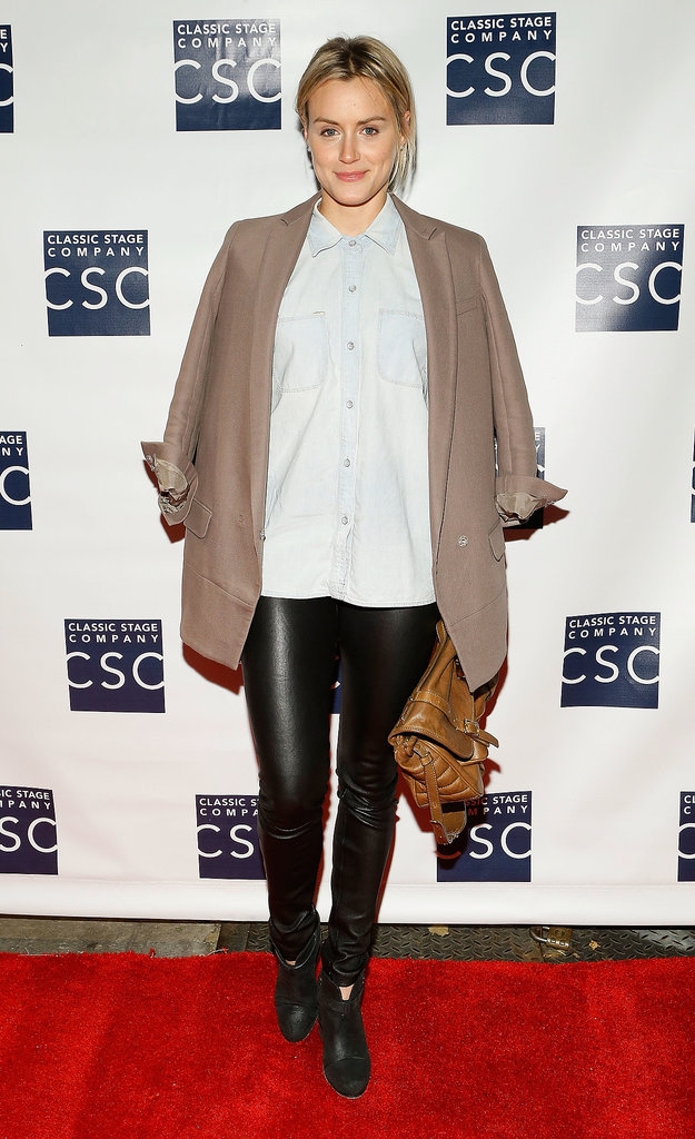 She dressed down just right in a pair of slick leather pants and a chambray button-down for an event in NYC in September 2012.