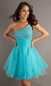 Cheap Short Sequin Bodice one shoulder Prom Dress 2013