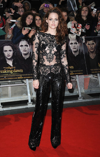 Stewart took another black lace turn at the UK premiere of Breaking Dawn Part 2 in November 2012, wearing a jazzy sequined jumpsuit by Zuhair Murad.