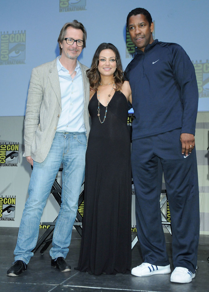 Mila Kunis was joined by her Book of Eli costars Gary Oldman and Denzel Washington for the film's Comic-Con press conference in 2009.