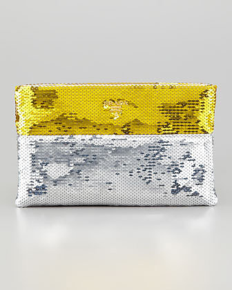 Prada Bicolor Sequined Pouch Clutch Bag, Gold/Silver