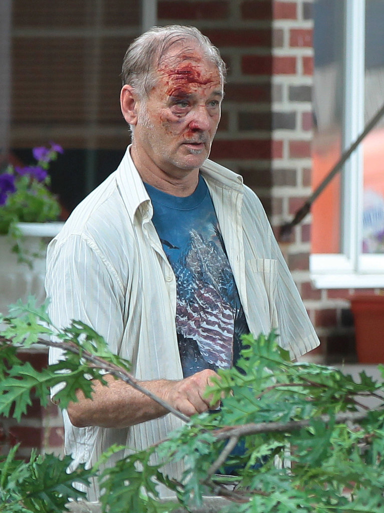 Bill Murray looked a little beat up on the set of St. Vincent de Van Nuys in NYC on Monday.