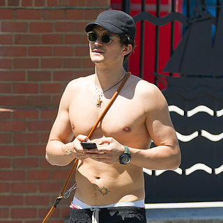 Orlando Bloom Shirtless in NYC With Son Flynn | Pictures