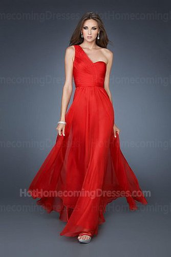 Red Long Asymmetrical Strap Unique Homecoming Dress for Cheap