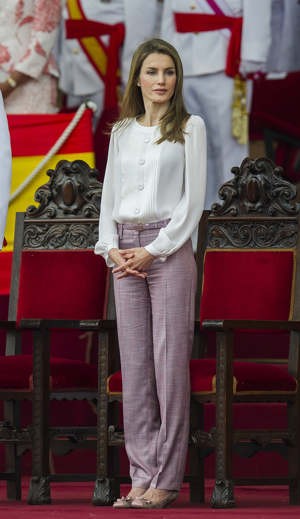 Princess Letizia of Spain was casually chic for a royal appearance at the Marin Navy Academy.