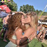 Bar Refaeli shared a smooch with a friend. Source: Instagram user barrefaeli