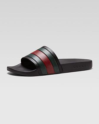 Gucci Pursuit '72 Rubber Slide Sandal, Black