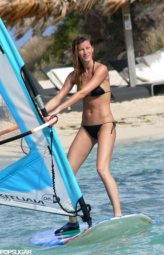 Gisele tried her hand at wind surfing during a December 2006 trip to St. Barts.