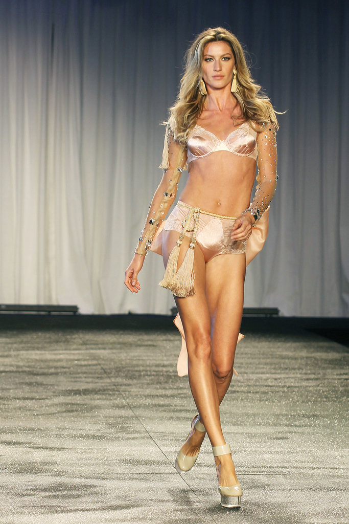 She sported an over-the-top getup for a lingerie fashion show in Sao Paulo, Brazil, in May 2011.