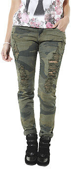 WetSeal Camouflage Destroyed Skinny Jean Camouflage
