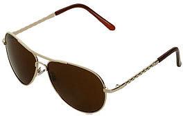 WetSeal Braided Temple Aviator Sunglasses Gold