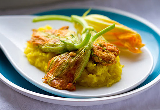 Stuffed Squash Blossoms With Saffron Rice