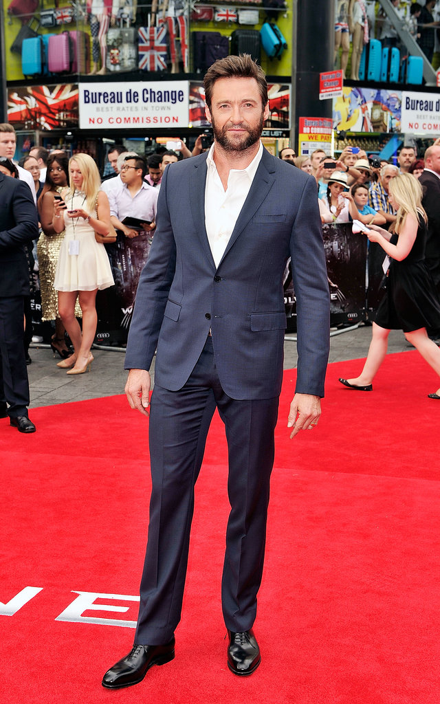 Hugh Jackman was suited up and looking fierce at the premiere of The Wolverine in London on July 16.