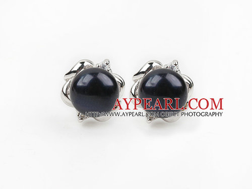 Fashion Style 9-10mm Natural Black Freshwater Pearl Studs Earrings with Flower Shape Accessories