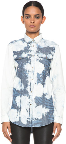 Pierre Balmain Bleached Zebra Printed Western Shirt in Denim Oxford