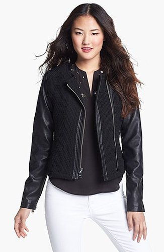 bebe Collarless Wool Blend & Faux Leather Jacket | Nordstrom
