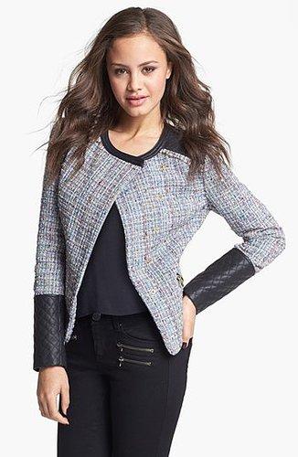 Collection B Faux Leather & Bouclé Jacket (Juniors) | Nordstrom