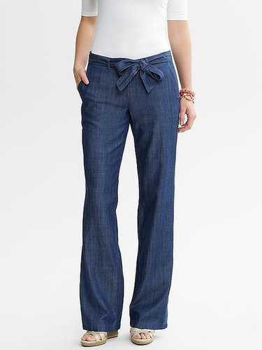 Chambray Tie-Front Wide Leg Pant
