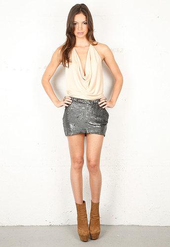 Haute Hippie Wrap Embellished Mini Skirt in Hematite