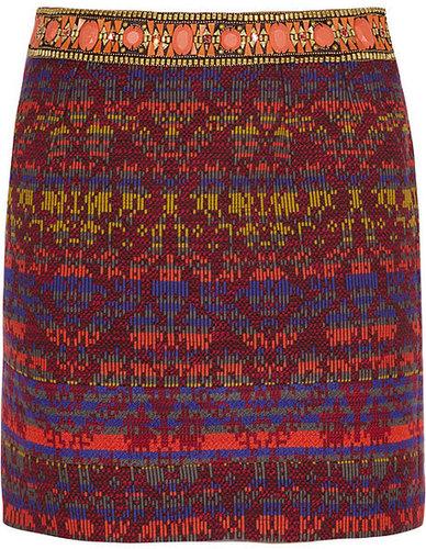 Matthew Williamson Embellished jacquard skirt