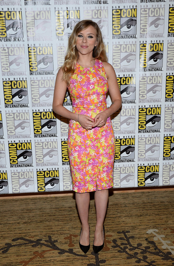 Scarlett Johansson wore a floral Versace dress.